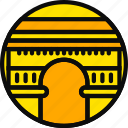 building, du, larc, monument, tryumphe, yellow icon
