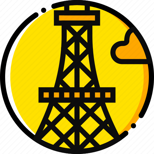 building, eiffel, monument, tower, yellow icon