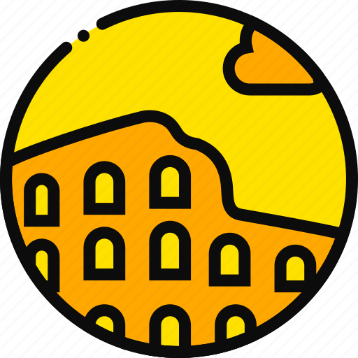 building, collosseum, monument, old, yellow icon