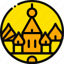 big, building, kremlin, monument, yellow icon