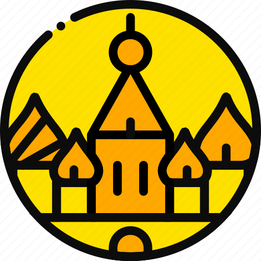 big, building, kremlin, monument, yellow icon