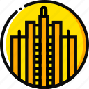 big, building, monument, rockefeller, yellow icon