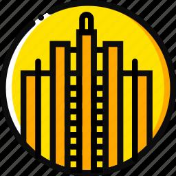 big, building, monument, rockefeller, yellow icon