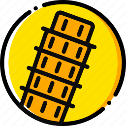 building, monument, pisa, tower, yellow icon