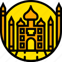 building, mahal, monument, taj, yellow icon