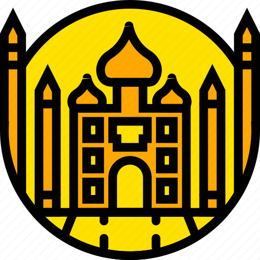building, mahal, monument, taj, yellow icon