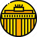 big, brandemburg, building, monument, yellow icon