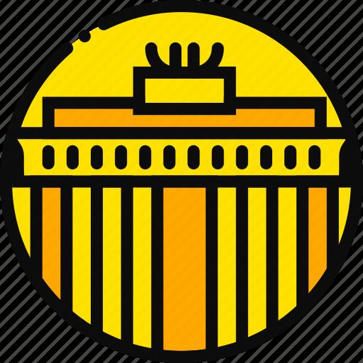 big, brandemburg, building, monument, yellow icon