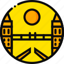bridge, building, londong, monument, yellow icon