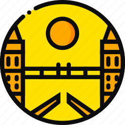 bridge, building, londong, monument, yellow icon