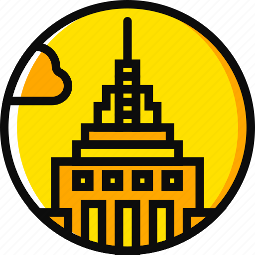 building, empire, monument, state, yellow icon