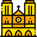 building, cathedral, dame, monument, notre, yellow icon