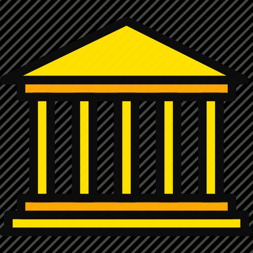 big, building, monument, parthenon, yellow icon