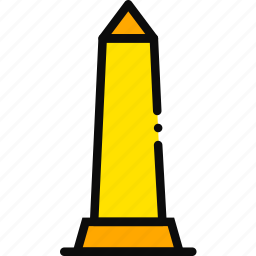 building, monument, obelisk, tall, yellow icon