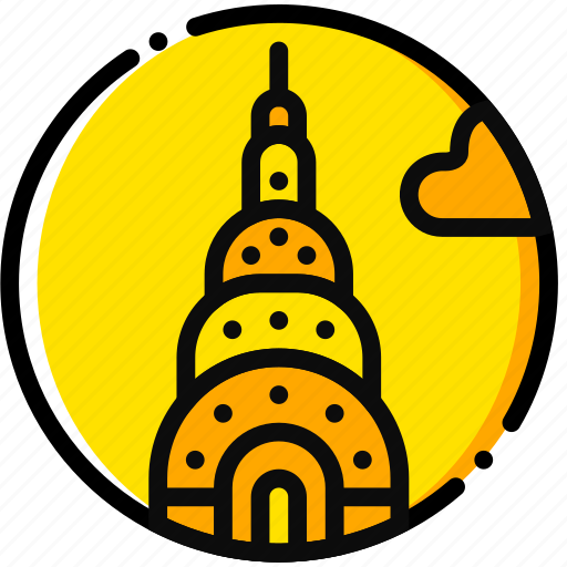 building, chrysler, monument, tall, yellow icon