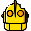 giant, head, iron, movie, yellow icon
