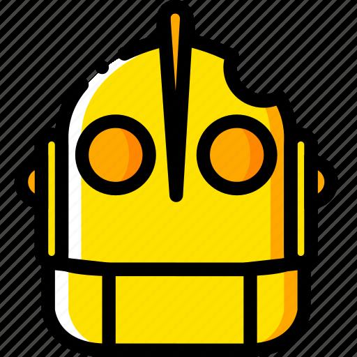 giant, head, iron, movie, yellow icon