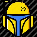 fett, star, movie, wars, yellow, bobba icon
