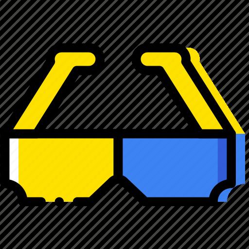 dimensional, glasses, movie, three, yellow icon