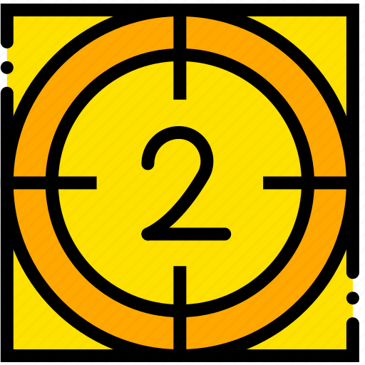 countdown, movie, start, two, yellow icon