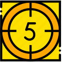 countdown, five, movie, start, yellow icon