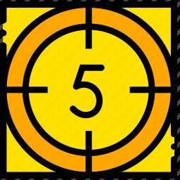 countdown, five, movie, start, yellow icon
