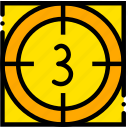 countdown, movie, start, three, yellow icon