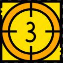 countdown, movie, three, yellow, start icon
