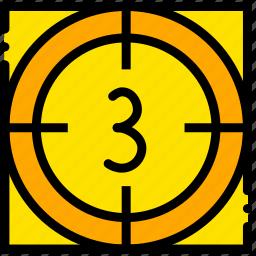countdown, movie, start, three, yellow icon