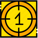 countdown, movie, one, start, yellow icon