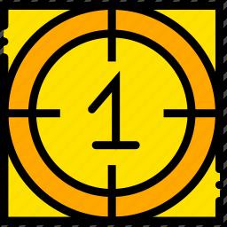 countdown, movie, one, start, yellow icon