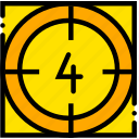 countdown, four, movie, start, yellow icon