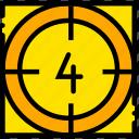 countdown, four, movie, yellow, start icon