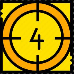 countdown, four, movie, start, yellow icon