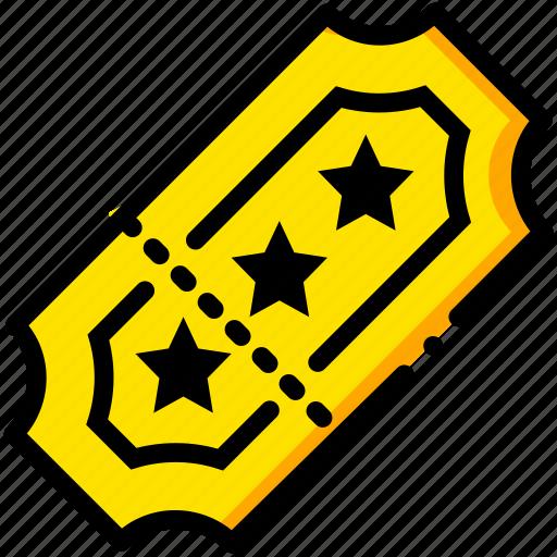 cinema, movie, ticket, watch, yellow icon