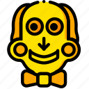 movie, puppet, saw, scary, yellow icon