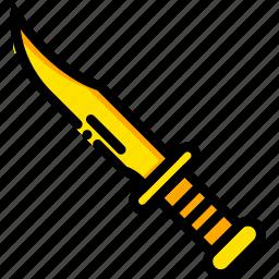 kill, knife, movie, rambo, yellow icon