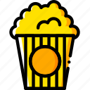 popcorn, movie, watch, yellow, cinema icon