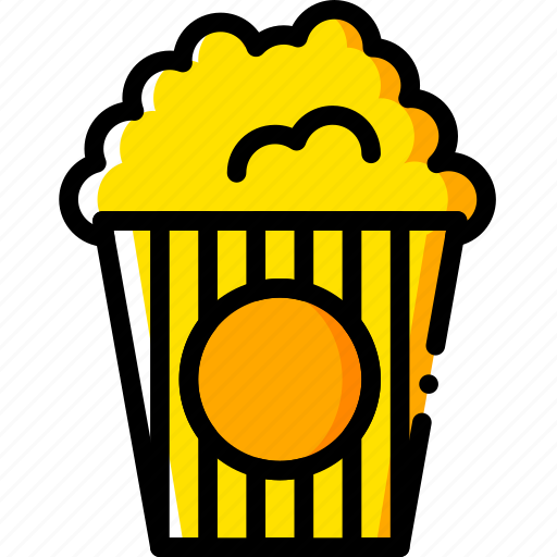 cinema, movie, popcorn, watch, yellow icon