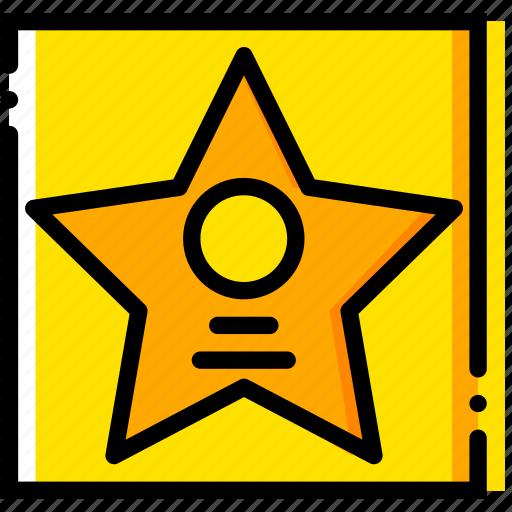 fame, hall, movie, starwalk, yellow icon