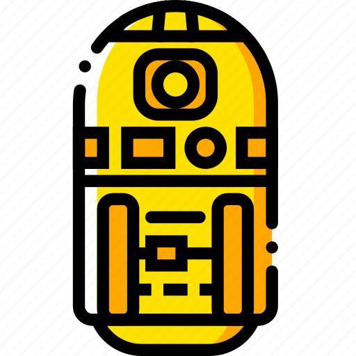 movie, r2, star, wars, yellow icon