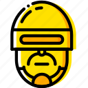 head, movie, police, robocop, yellow icon