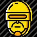 head, movie, police, robocop, yellow