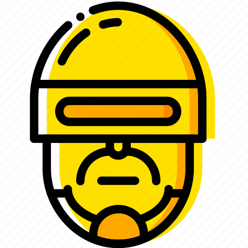 head, movie, police, robocop, yellow icon