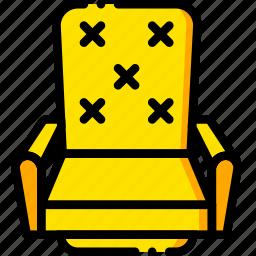 chair, cinema, movie, vip, yellow icon