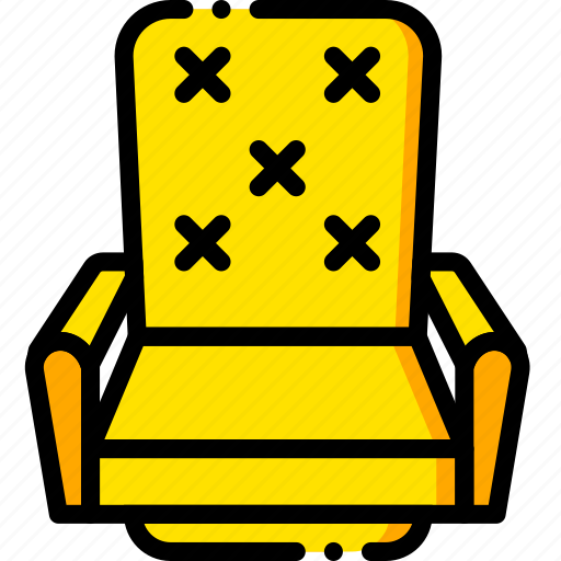 chair, cinema, movie, vip, yellow icon