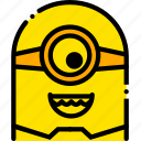 funny, head, minion, movie, yellow icon