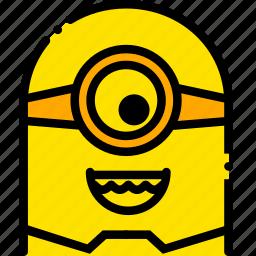 funny, head, minion, movie, yellow icon