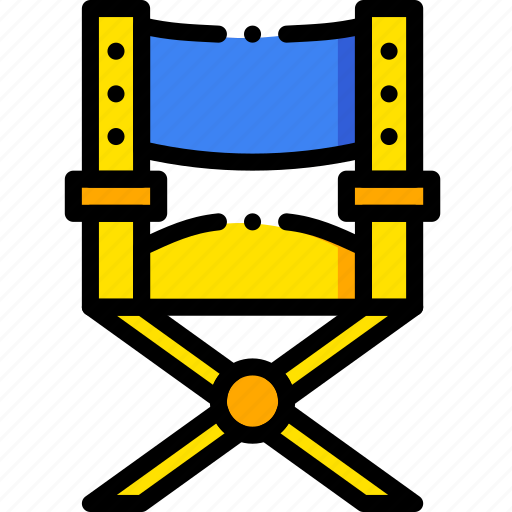 chair, direct, director, movie, yellow icon