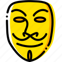 for, movie, v, vendetta, yellow icon